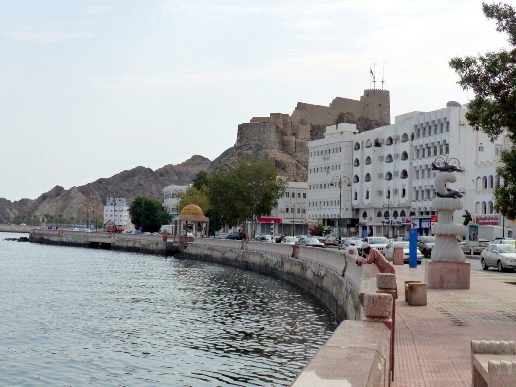 Muscat fort overlooking the waterfront in Oman.