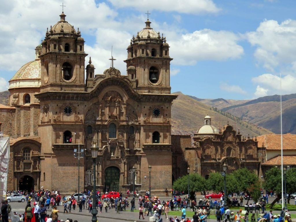 The Plaza Mayor and Cusco Cathedral on a busy day.