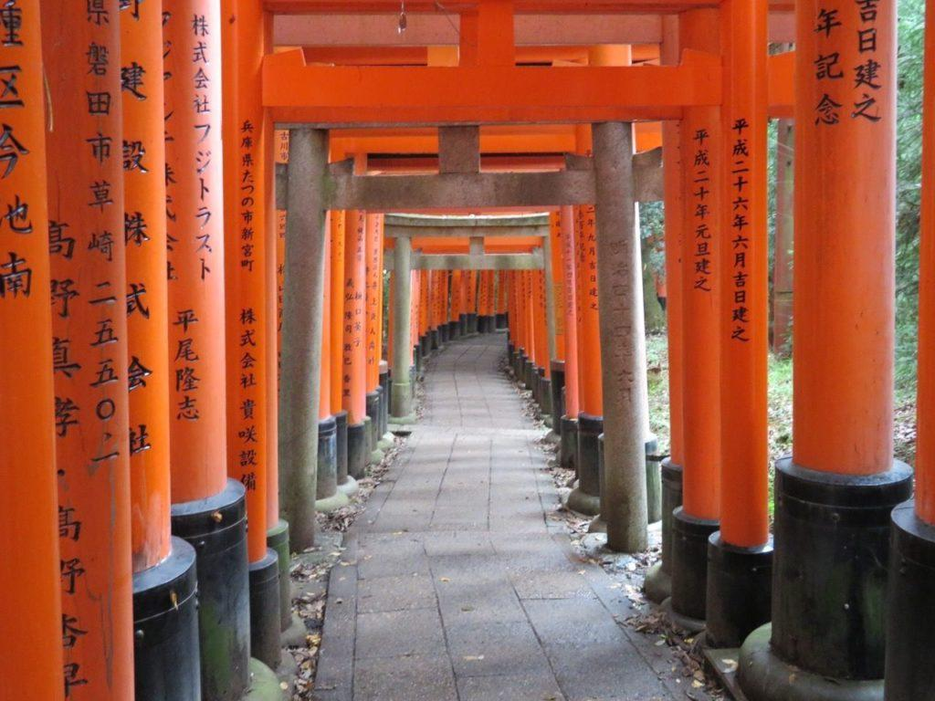 The path inside the famous thousand torii gates in Kyoto, Japan.
