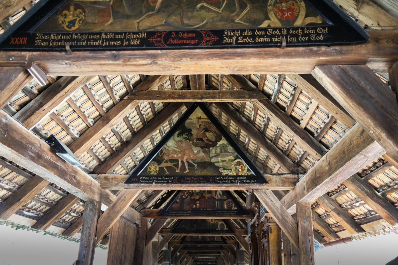 View of the ceiling and artwork on the Chaff Bridge in Lucerne.
