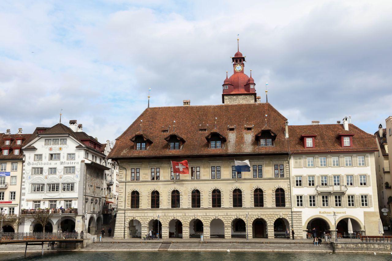 Town hall in Kornmarkt Square in Lucerne, Switzerland.
