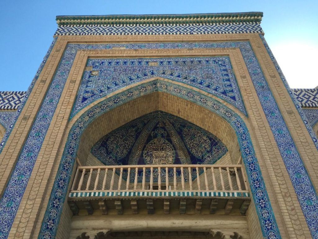 Beuatiful blue tile mosaic on the front of a mosque in Uzbekistan.