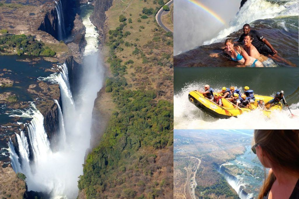 Victoria Falls aerial view, three swimmers at the edge of the falls, a raft takes the rapids, and a another view of the falls from an airplane window.