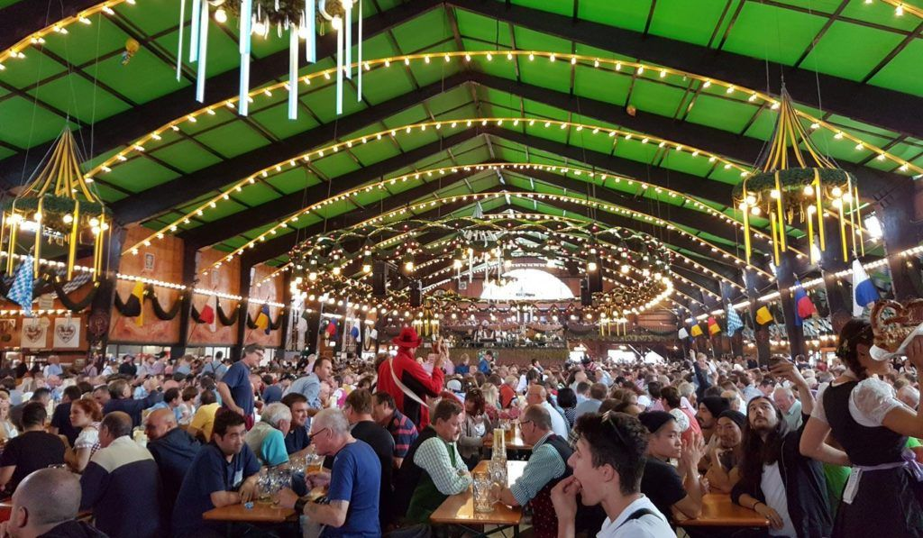 Inside one of the massive beer tents at the Munich Oktoberfest.
