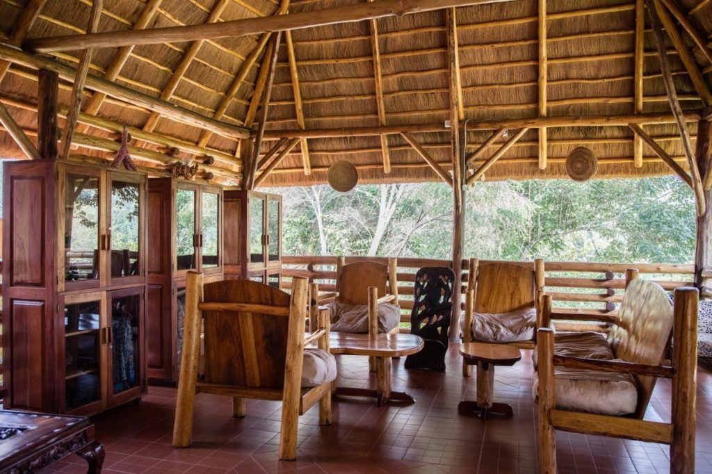 Relaxing sitting area at Kibale Forest Lodge.