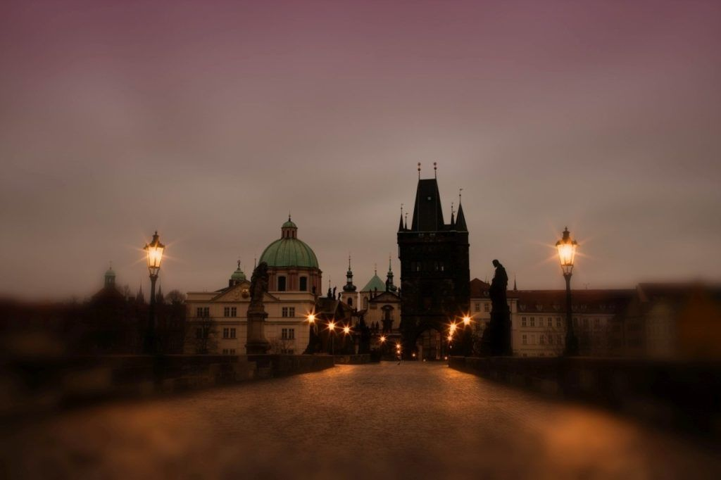 The Charles Bridge in the early morning.