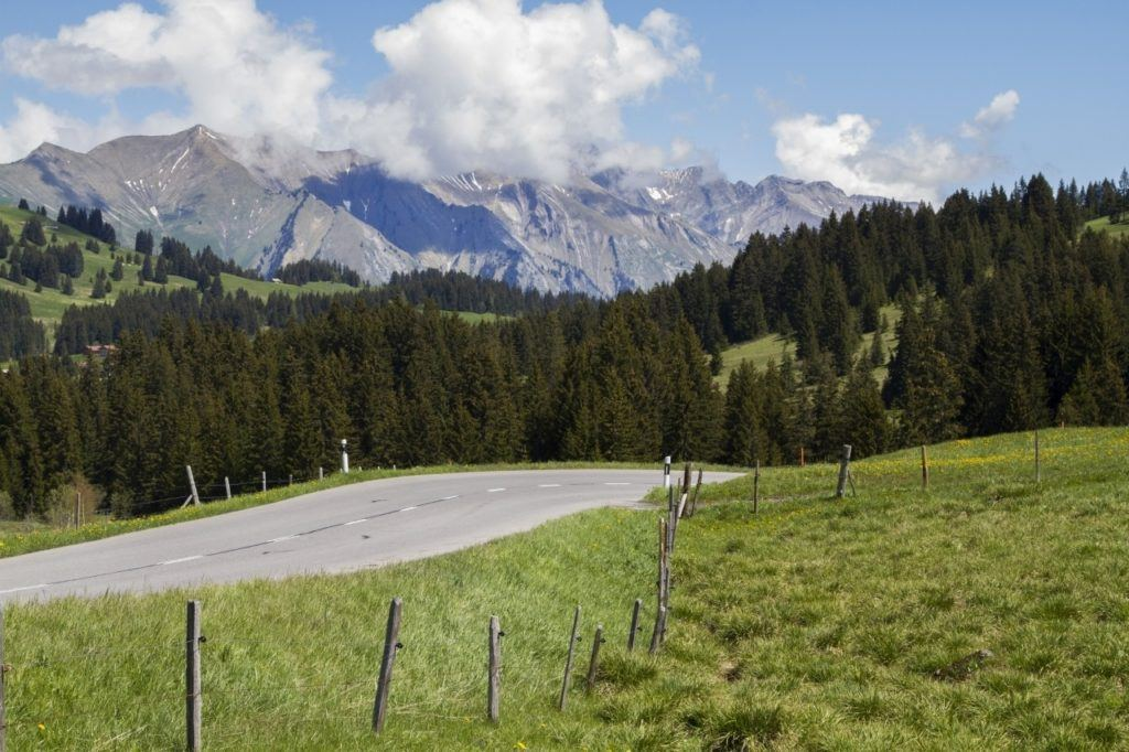 Lonely stretch of road in the Bavarian Alps.