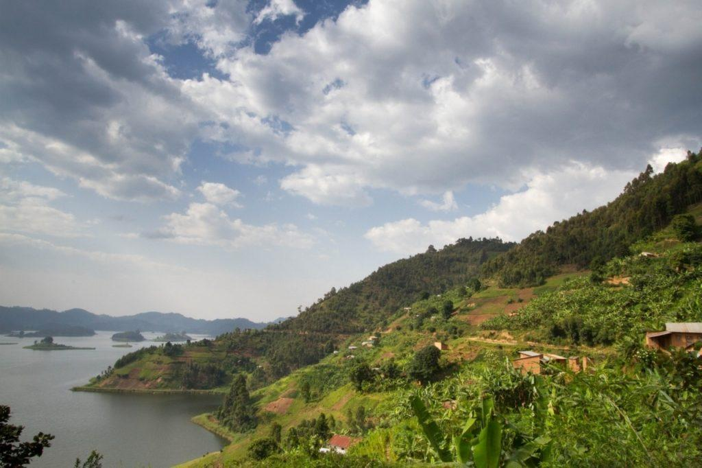 Lake Mutanda near the Bwindi Impenetrable Forest where the mountain gorillas live in Uganda.