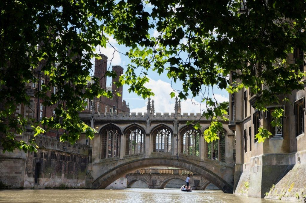 Punting in Cambridge under the Bridge of Sighs.