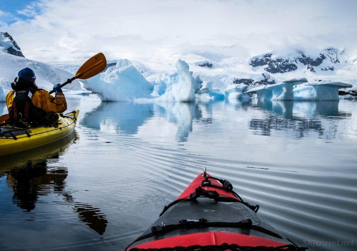 Kayaking among icebergs.