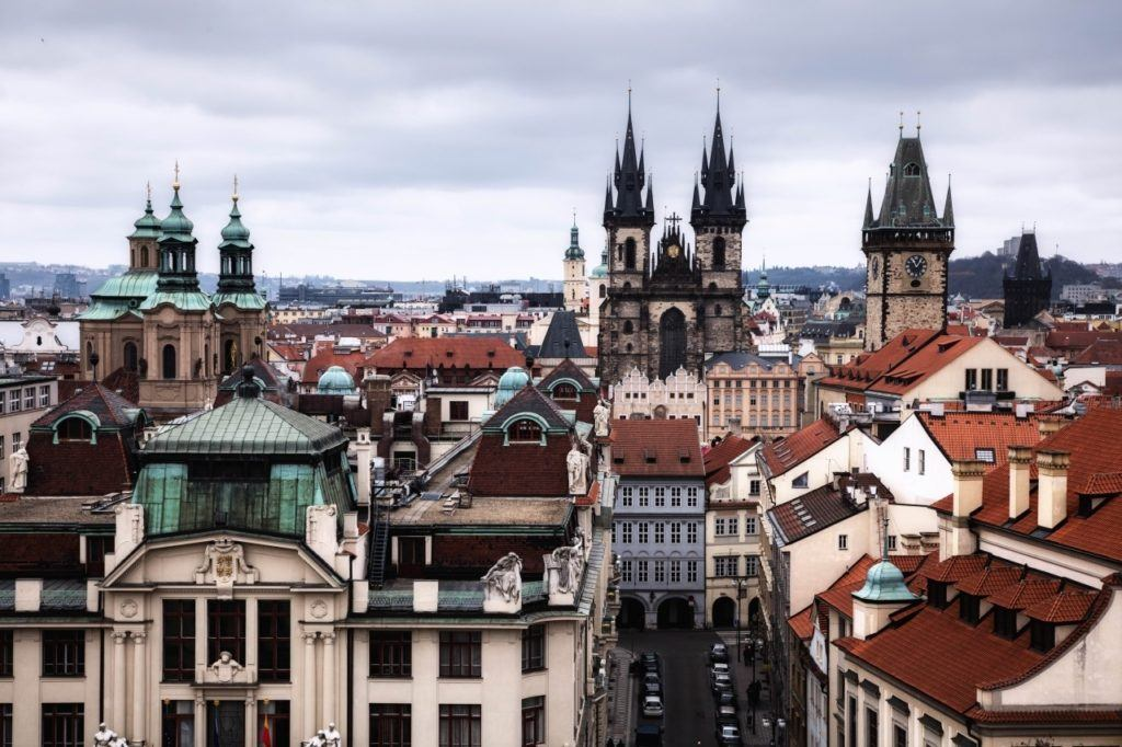 Prague sightseeing from above at the top of the Astronomical tower.