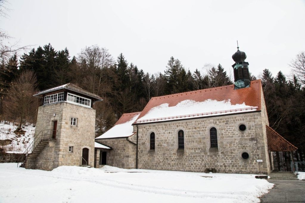 The church and one of the guard towers at KZ Flossenburg Concentration Camp.