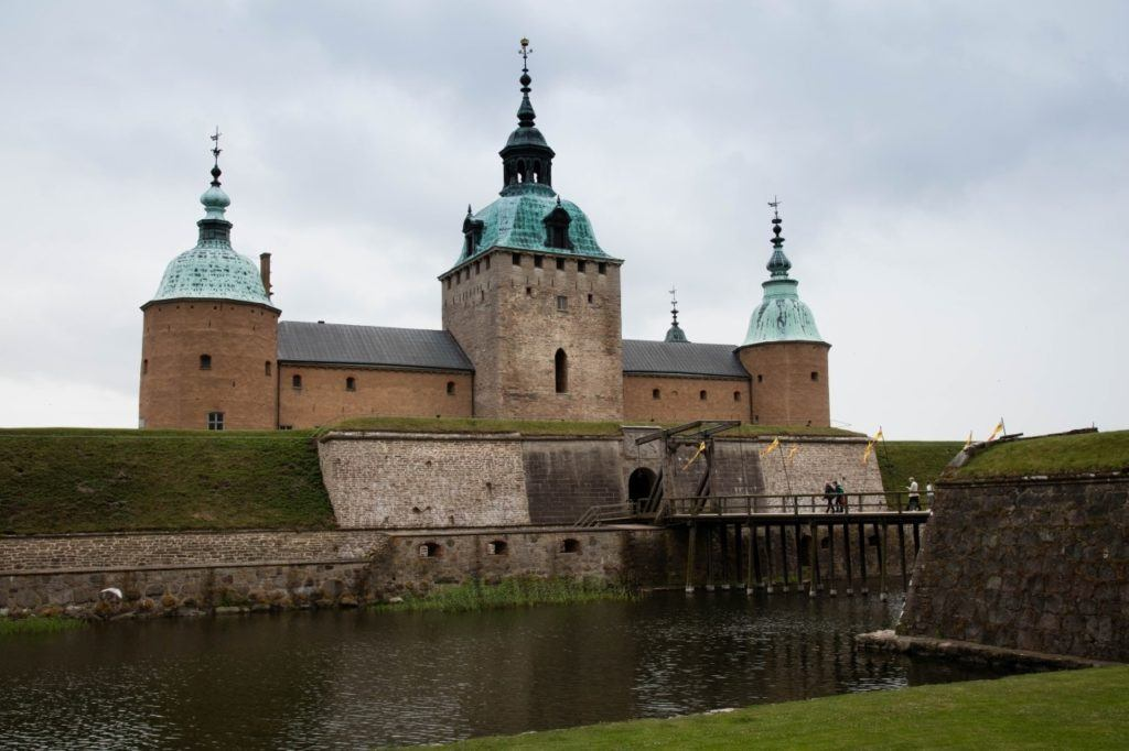 The drawbridge and moat in front of Kalmar castle.