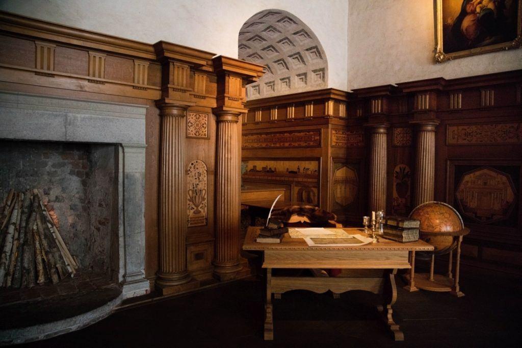 Massive fireplace and study area in Kalmar castle.
