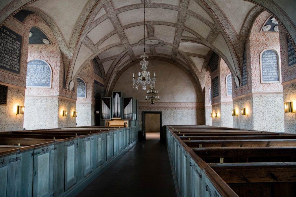 Pews in the Kalmar Castle chapel.