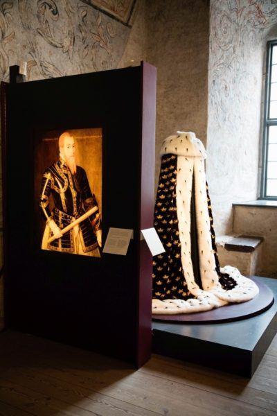 Royal robes on display in Kalmar castle.