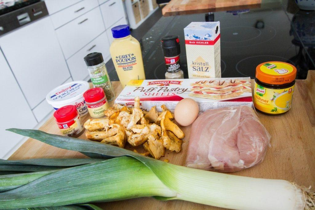 Ingredients for our chicken and leek pie recipe.