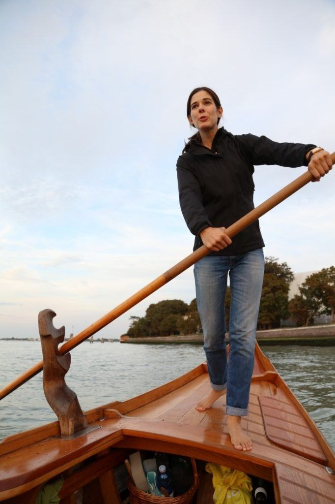 Our batellina instructor expertly navigates the small boat through Venice.