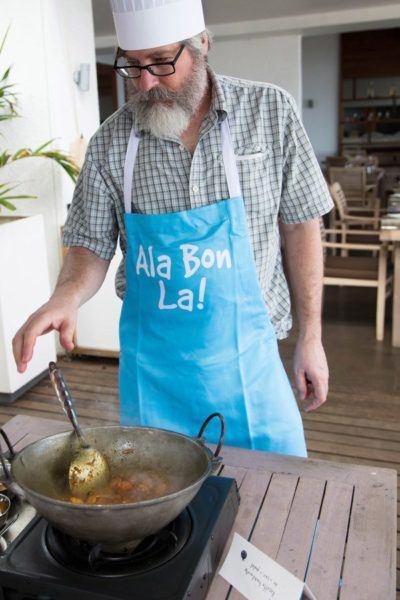 Jim stirring the Mauritian curry.
