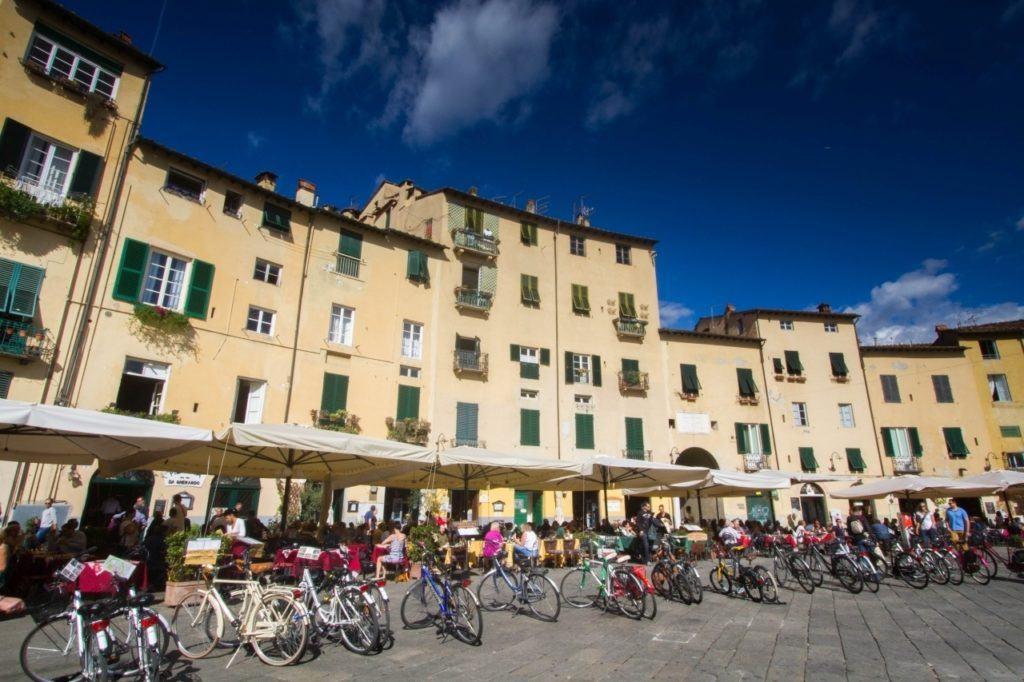View of medieval buildings on dell'Anfiteatro Piazza Lucca.