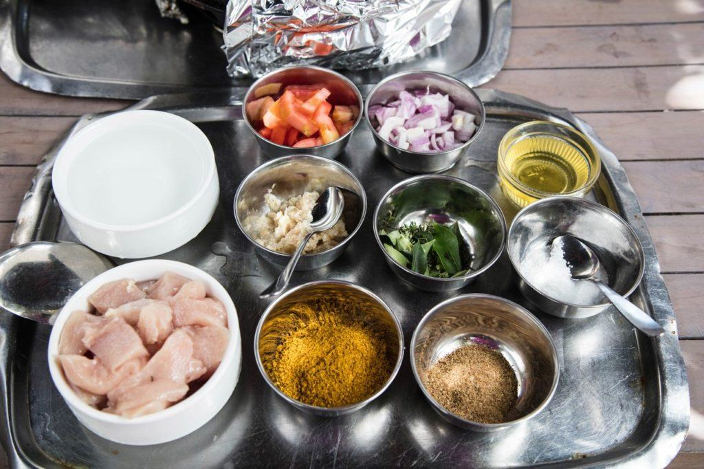 Ingredients, mise en place, for Mauritian curry.