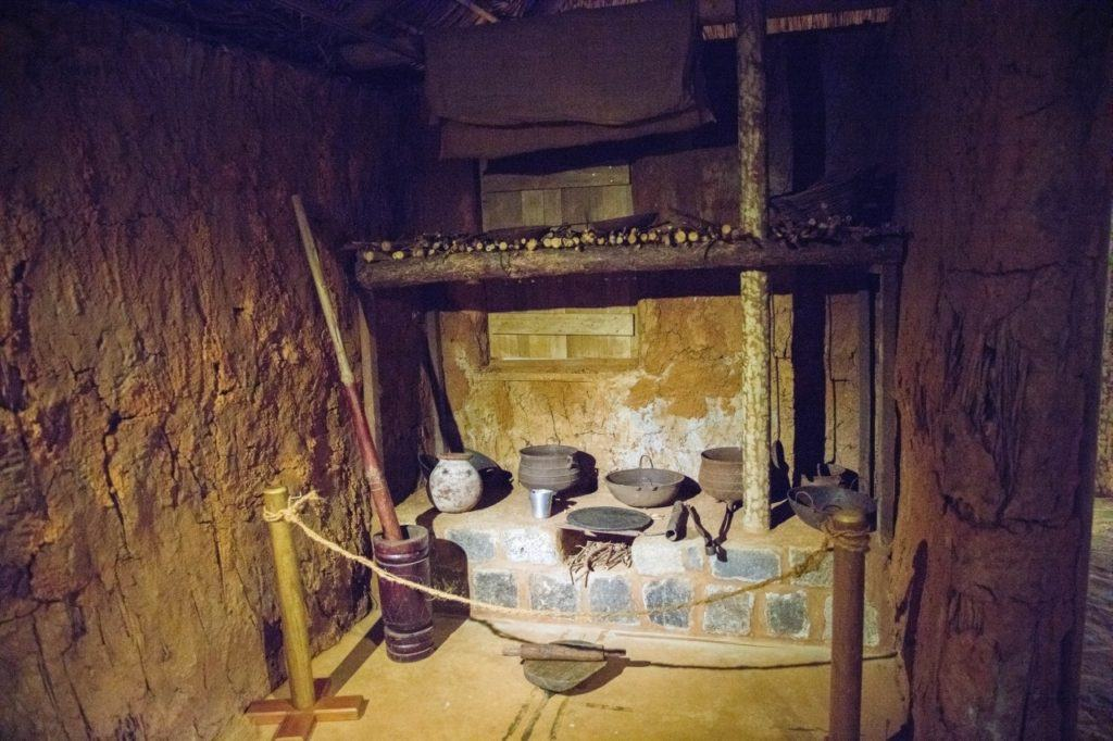 Kitchen scene in the museum at Aapravasi Ghat, Port Louis, Mauritius.