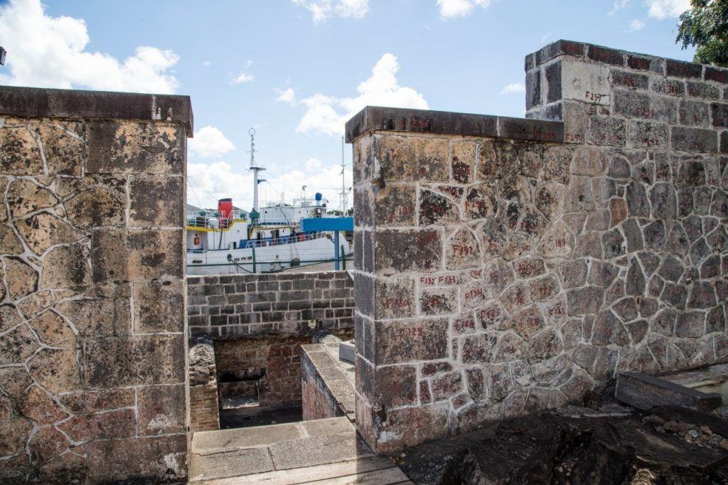 Aapravasi Ghat walls and dock, Port Louis, Mauritius.