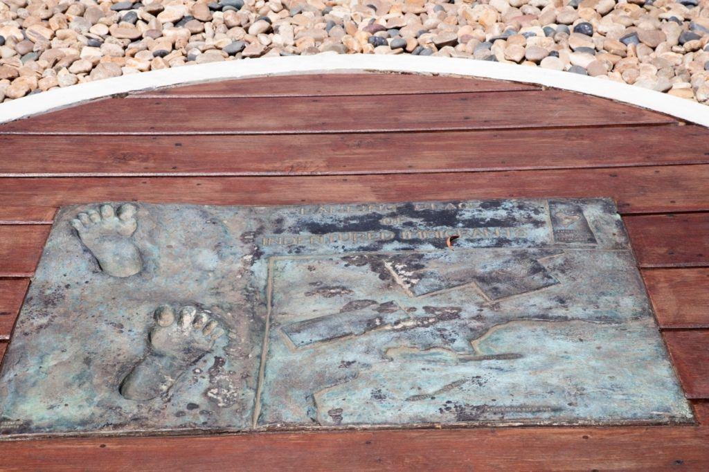 Footprint memorial plaque at Aapravasi Ghat, Port Louis, Mauritius.