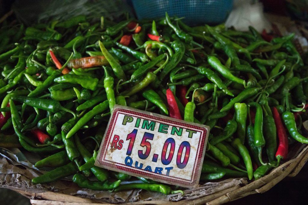 Grown in Mauritius: A basket of peppers for sale.
