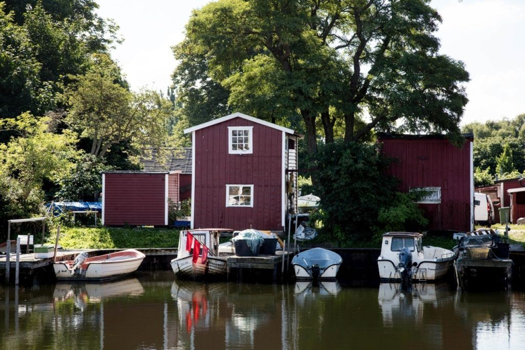 Swedish boat houses and boats.
