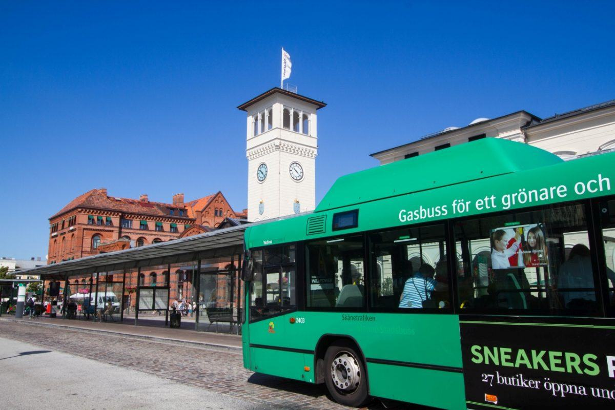 Get around Malmo on these green buses.