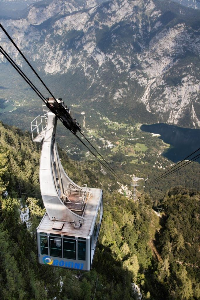 Vogel cable car climbs out of the valley.