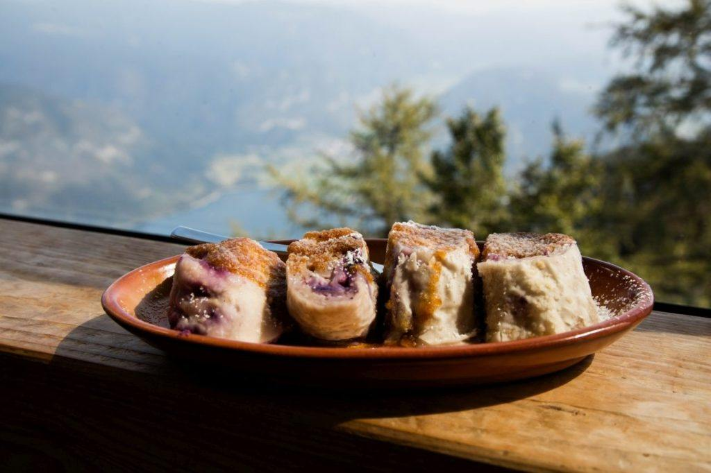 A tasty and traditional snack, štruklji are blueberry and cream filled dumplings