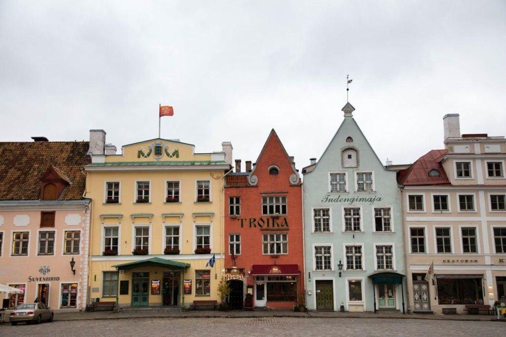 Colorful old townhouses in Tallinn, Estonia.