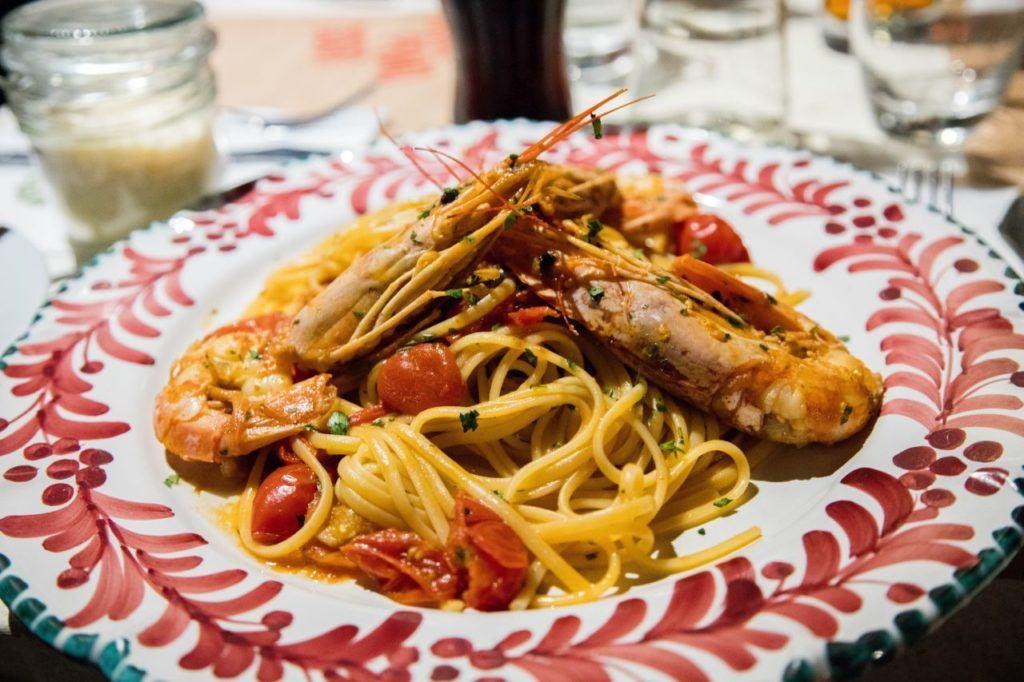 Seafood spaghetti in Venice restaurant.