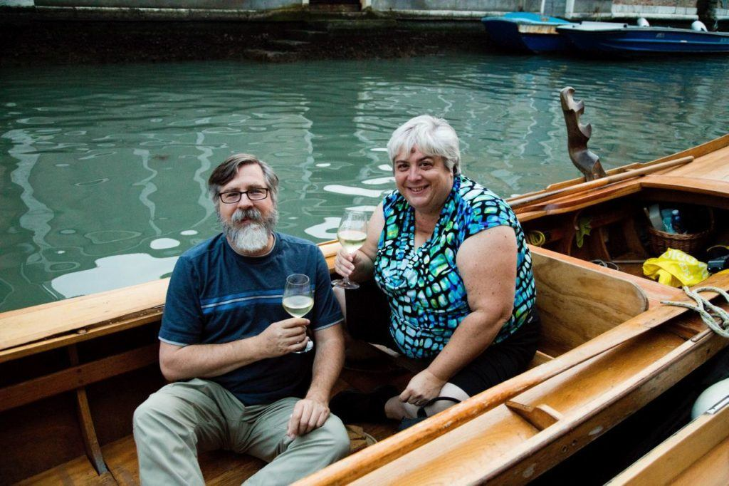 Jim and Corinne enjoy a glass of wine on their Battelini excursion.