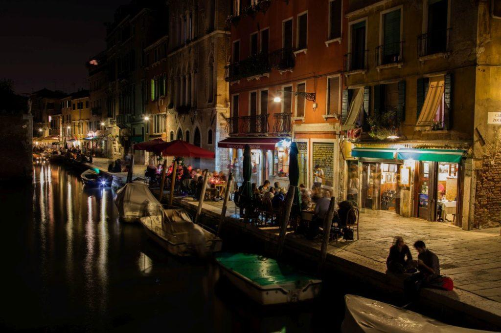 Venice canal at night.