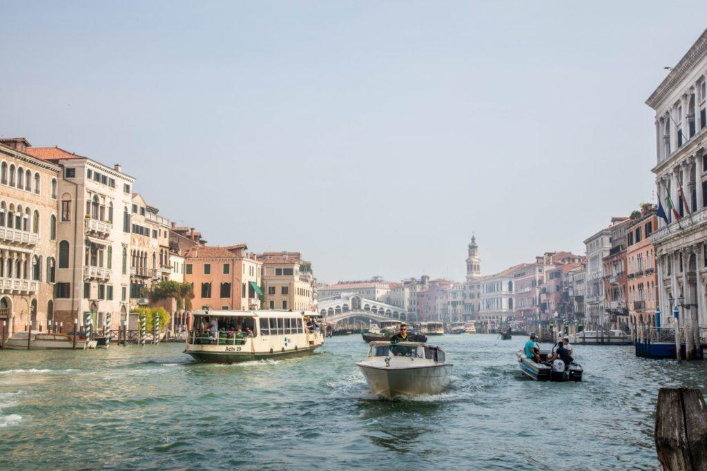 Water traffic on the Grand Canal in Venice.