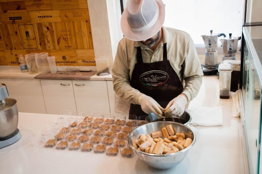 Making tiramisu.