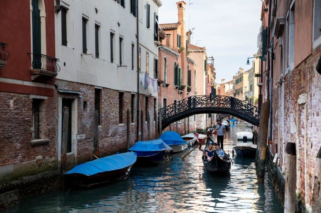Venice Gondola in a picturesque canal.