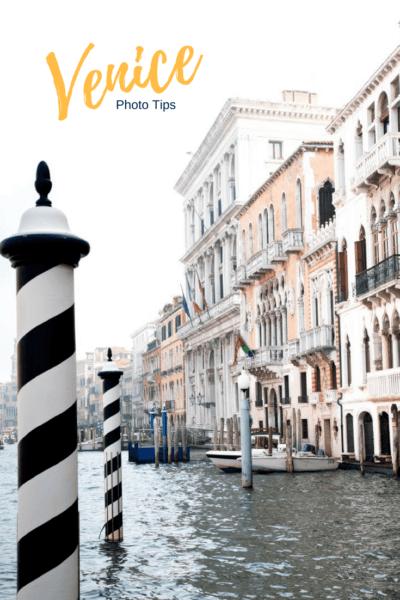 Venice black and white pylons.