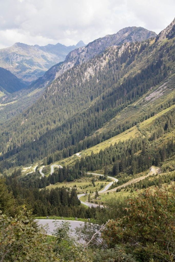 Looking down the valley at the many turns and switchbacks o the Grossglockner.