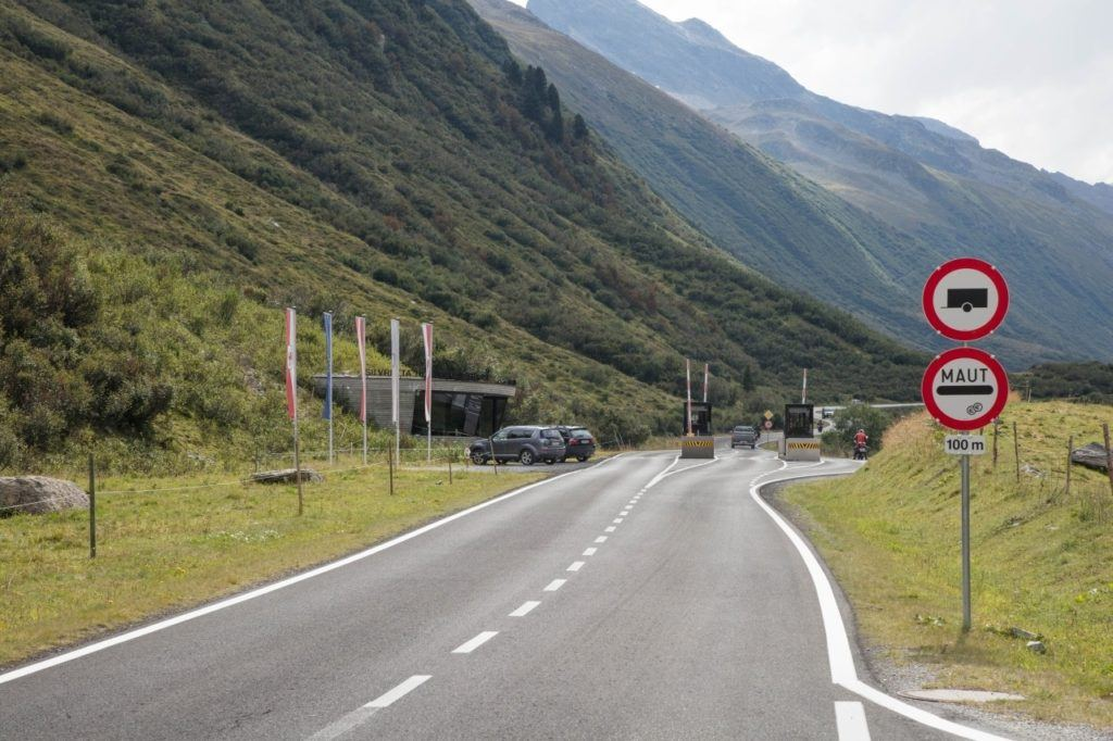Toll booth at the entry to the Tauern National Park, Austria.