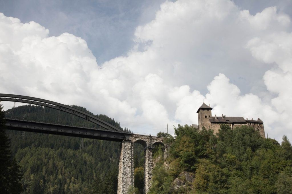 A mountain top castle guards the path of the Grossglockner High Alpine Road.