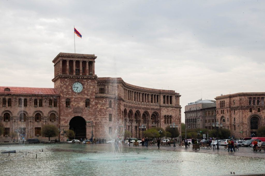 Parliament Square in Yerevan, Armenia.