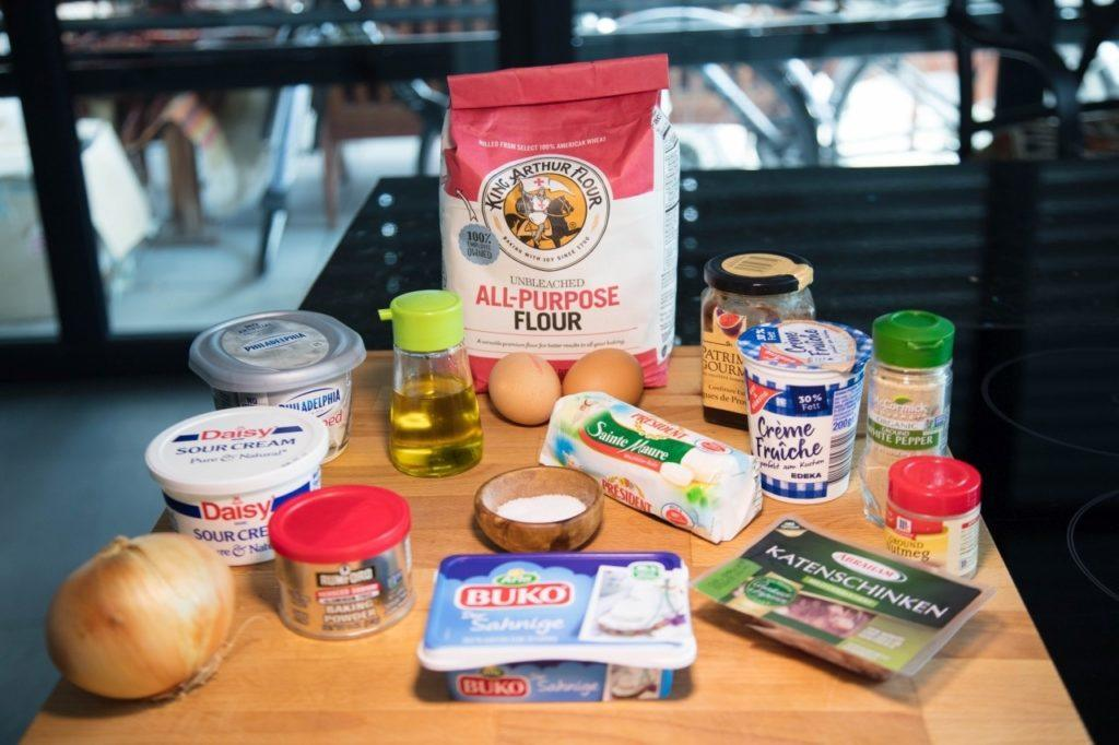 Ingredients for tarte flambee.