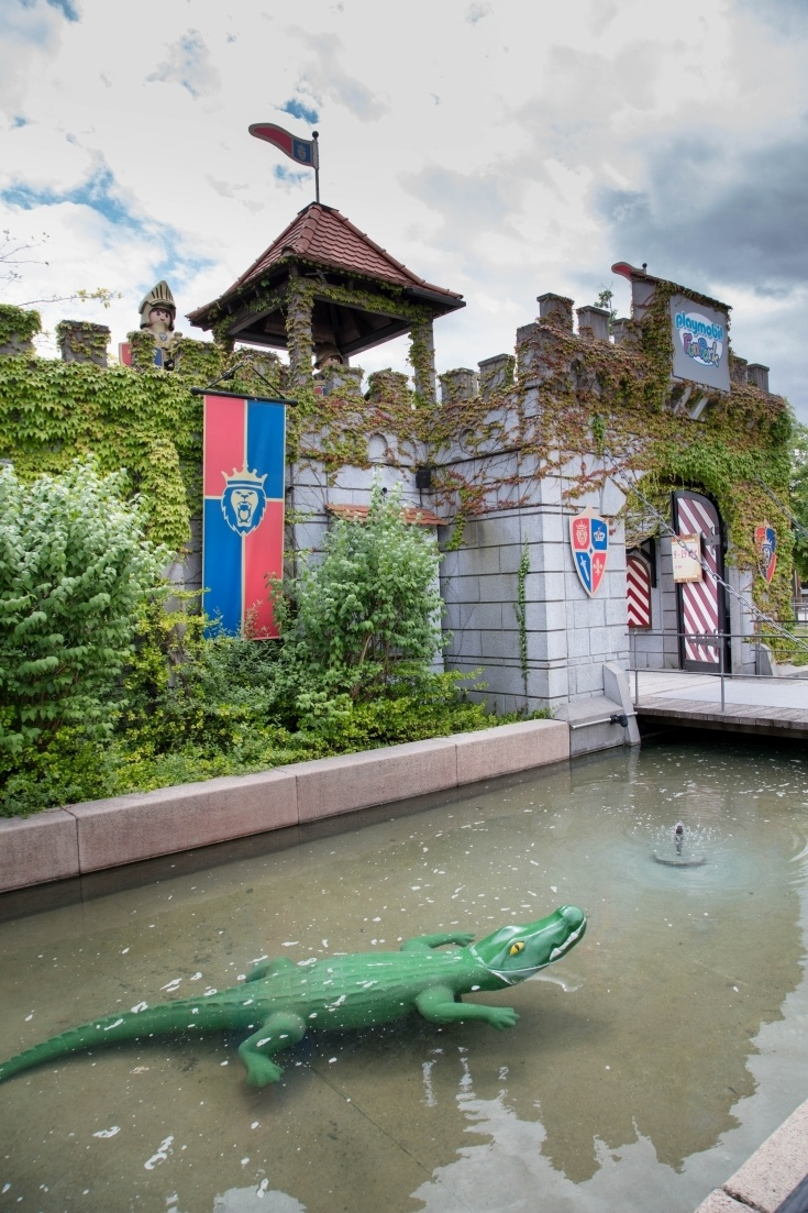 The entrance to Playmobil, complete with crocodile protected moat.