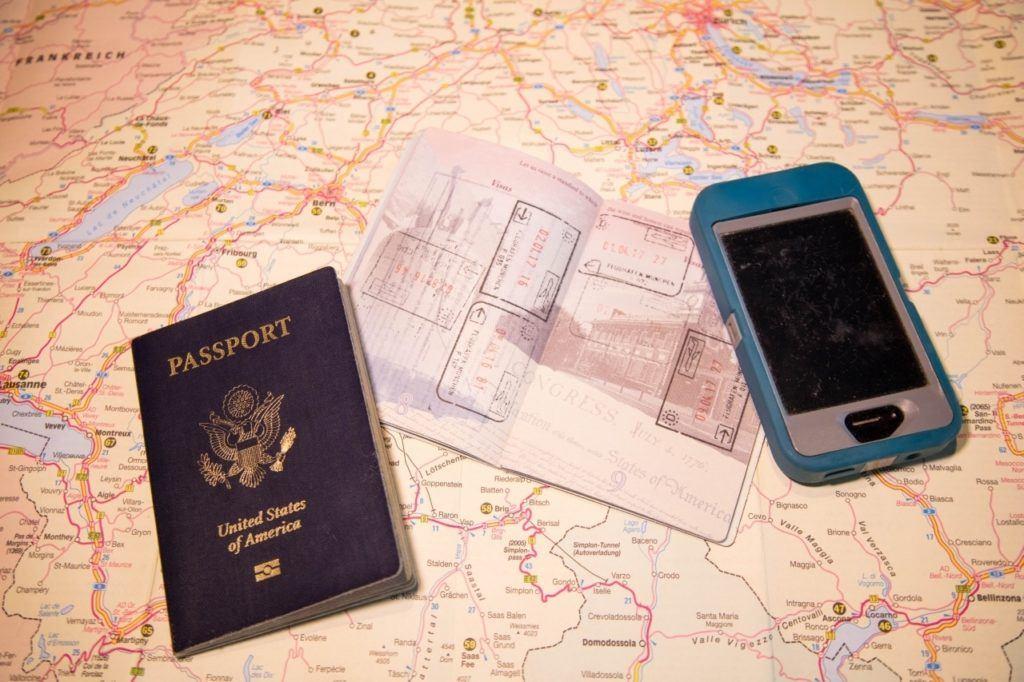 Passports and Schengen stamps.