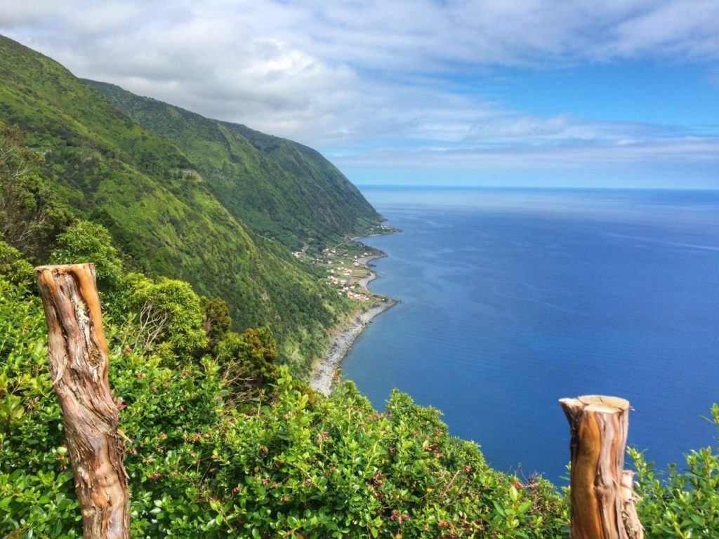 Coastline view of the Azores from a mountain top.