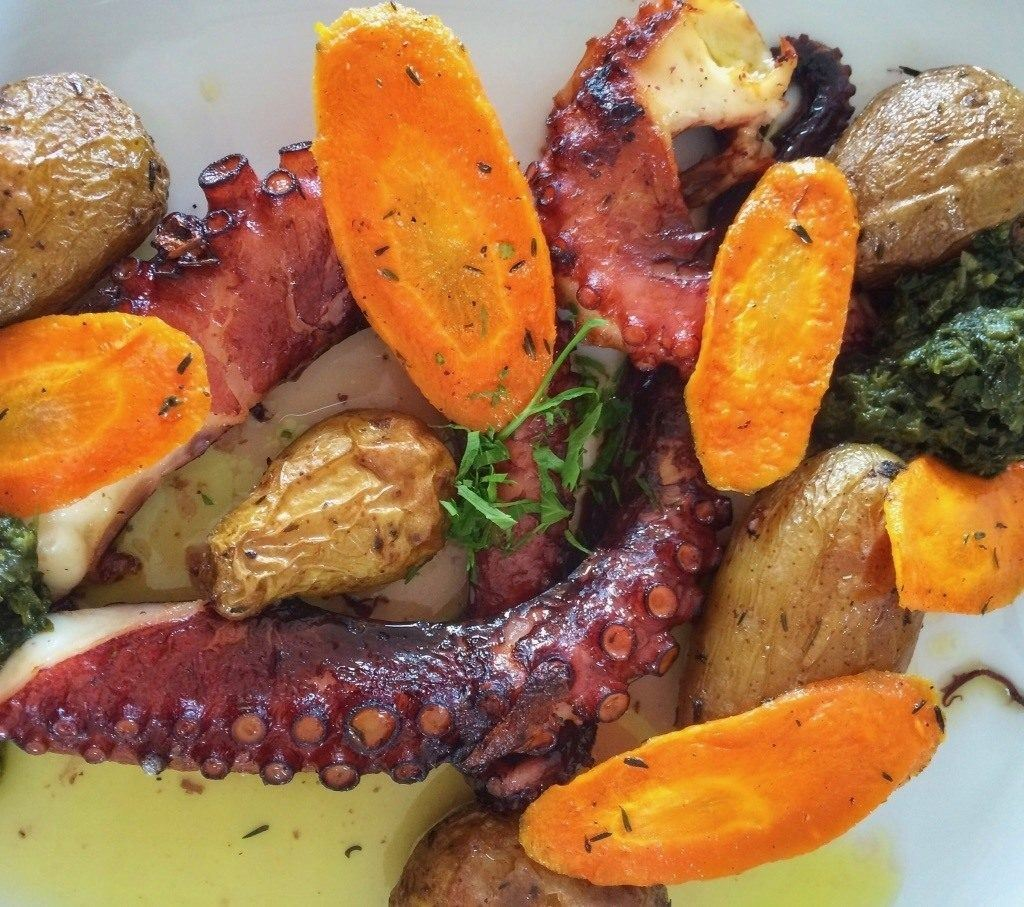 A typical Azores dish, octopus and roasted carrots and potatoes.